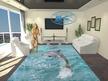 Проект на хол - опънат таван, окачен таван от гипсокартон и 3Д под с Делфин.
