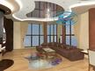 3Д проект на декоративни тавани - окачен таван, опънат таван и 3Д под в хол.