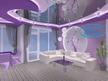 3Д проект на окачен таван и огледален опънат таван в хол.