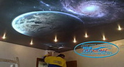 Installation of art stretch ceiling in a bedroom with a diode LED lighting.